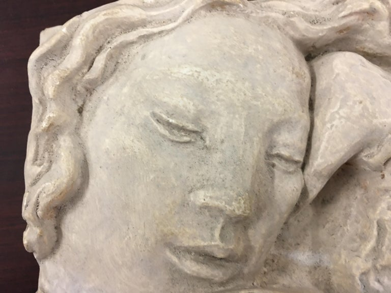 French Gaston Watkin Small Art Deco Bas-Relief in Plaster, Signed, 1942 For Sale