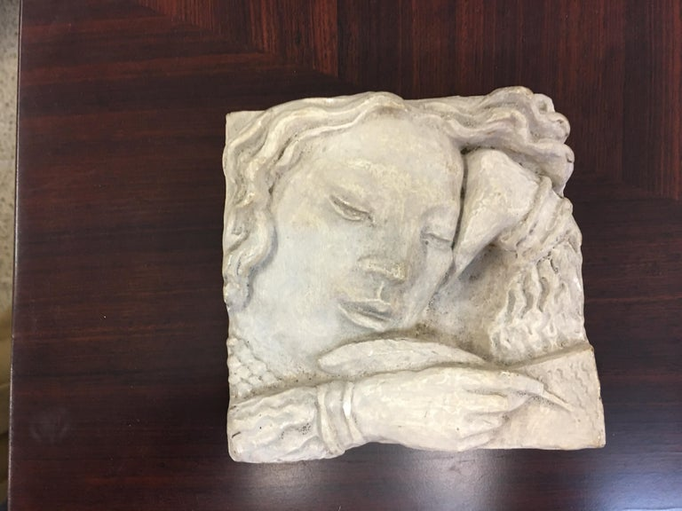 Mid-20th Century Gaston Watkin Small Art Deco Bas-Relief in Plaster, Signed, 1942 For Sale