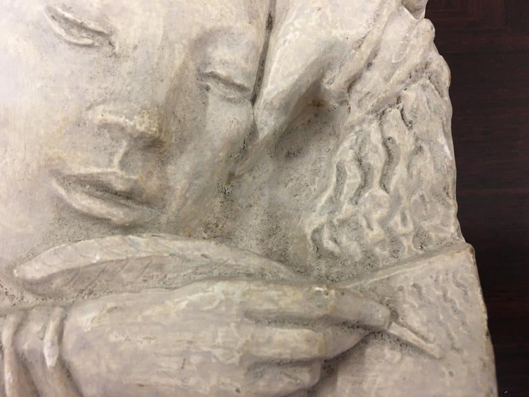 Gaston Watkin Small Art Deco Bas-Relief in Plaster, Signed, 1942 For Sale 1