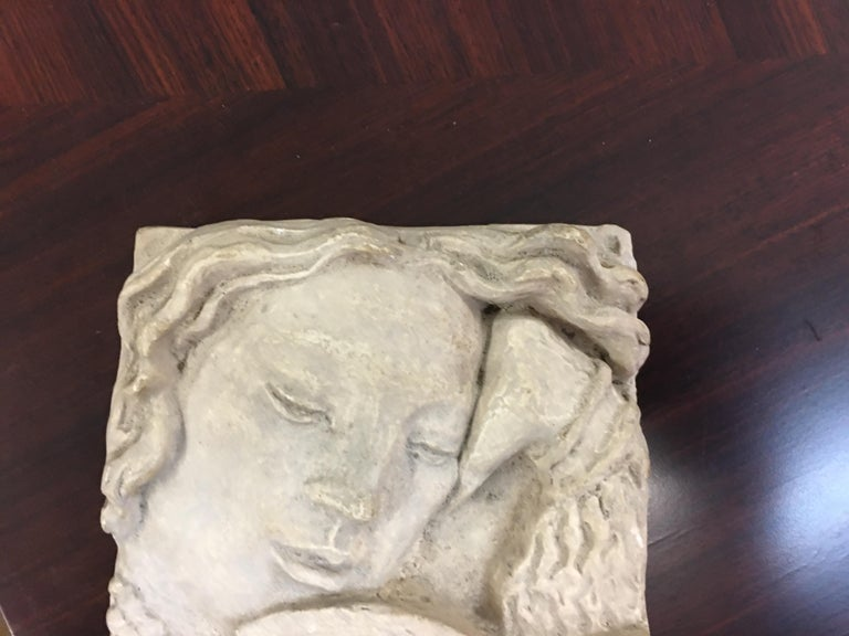 Gaston Watkin Small Art Deco Bas-Relief in Plaster, Signed, 1942 For Sale 2
