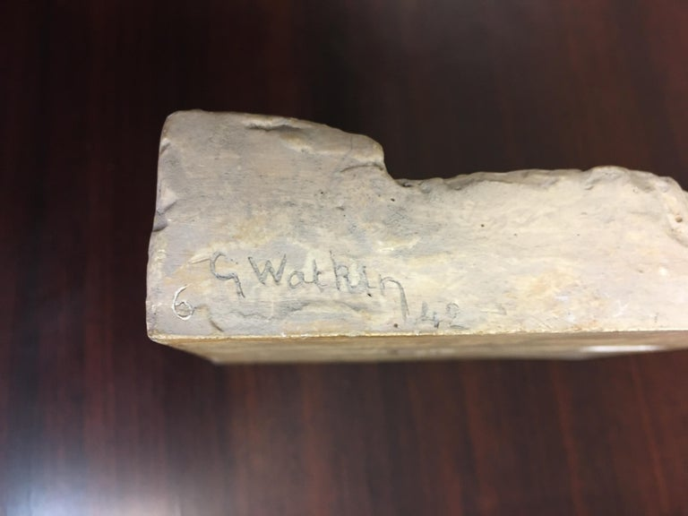 Gaston Watkin Small Art Deco Bas-Relief in Plaster, Signed, 1942 For Sale 4