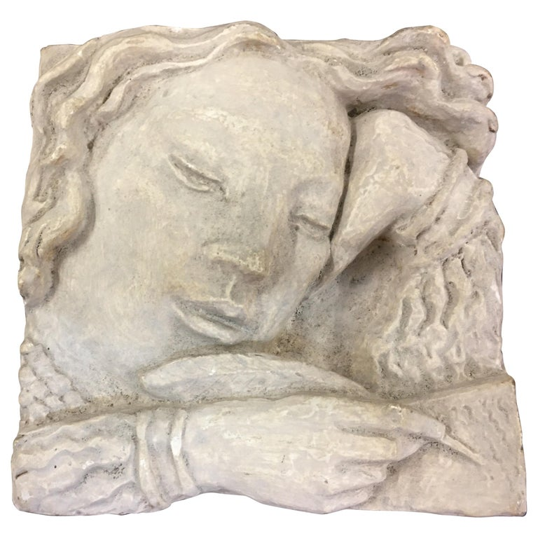 Gaston Watkin Small Art Deco Bas-Relief in Plaster, Signed, 1942 For Sale