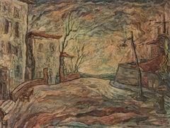 Abstract Impressionist Periphery Gastone Biggi 1950 Oil on Canvas