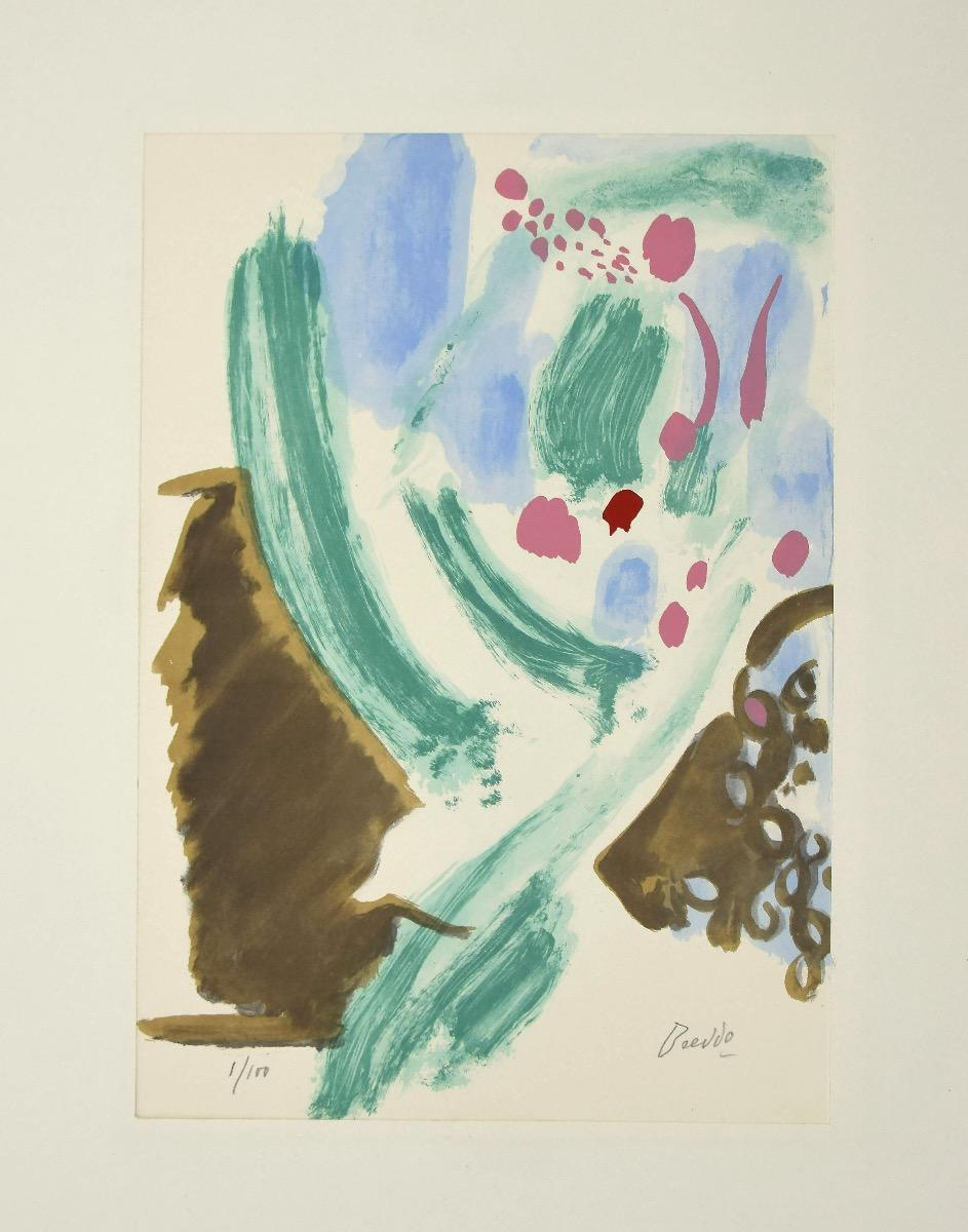 Composition - Original Lithograph by Gastone Breddo - 1970s