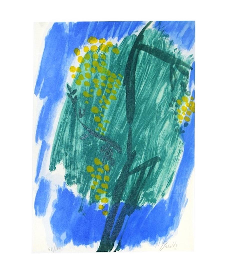 Flowering Mimosa - Original Lithograph by Gastone Breddo - 1970s