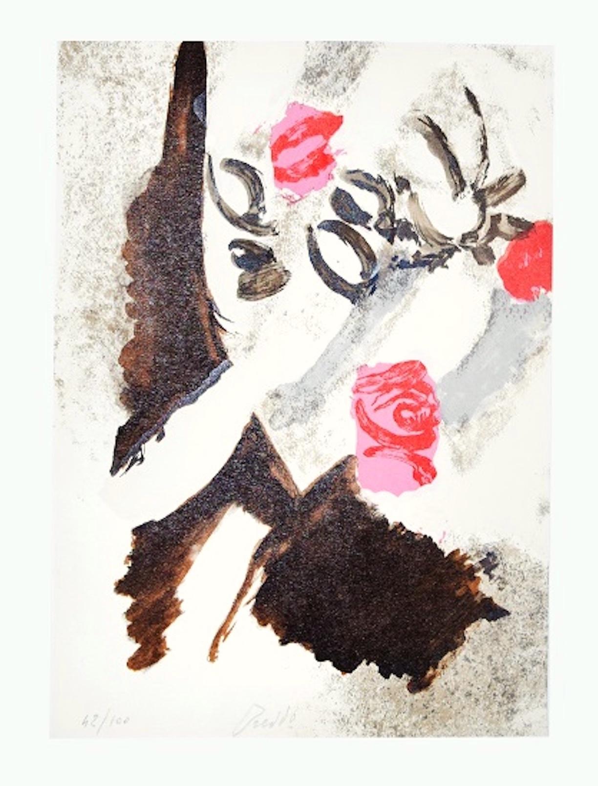 Pink Bouuet - Original Lithograph by Gastone Breddo - 1970s