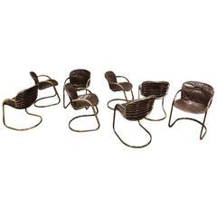Gastone Rinaldi Brass Dining Chairs, 1970s, Set of 8