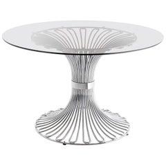 Gastone Rinaldi Circular Dinning Table, Chrome and Smoked Glass Top, Italy, 1965