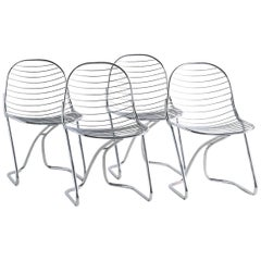 Gastone Rinaldi for RIMA Chrome Dining Chairs, Set of 4
