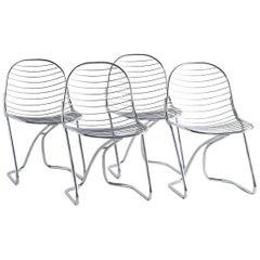 Gastone Rinaldi for RIMA Chrome Dining Chairs, Set of 4
