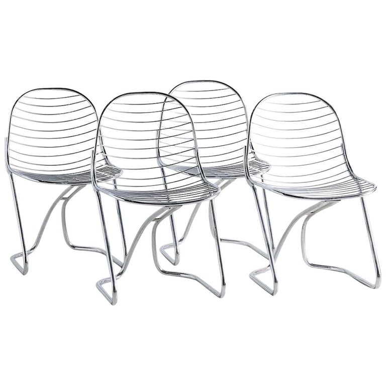 Gastone Rinaldi for RIMA Chrome Dining Chairs, Set of 4 For Sale