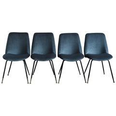 Gastone Rinaldi for RIMA Italian Blue Velvet Midcentury Dining Chairs, 1950s