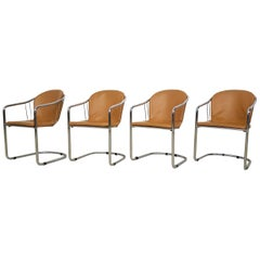 Gastone Rinaldi for RIMA Set of 4 Dining Chairs in Chrome and Leather, Italy