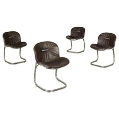 Gastone Rinaldi Group of Four Chairs Chromed Metal Padded Leather, 1970