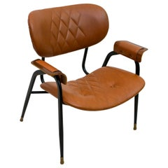 Gastone Rinaldi Mid-Century Modern Italian Leather Armchair for RIMA, 1960s