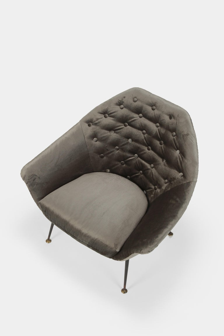 Very rare armchair P43 by Gastone Rinaldi made by Rima in the fifties in Italy. Beautiful form revived by a detailed re-upholstery in silver-grey velvet. A luxurious midcentury design classic that oozes sensuality in a way that only Italian