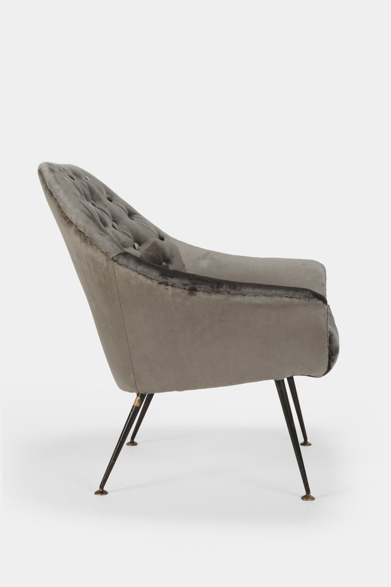 Italian Gastone Rinaldi P43 Rima Velvet Chair, 1950s For Sale