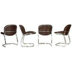 Gastone Rinaldi 'Sabrina' Chocolate Brown Leather Chairs for RIMA, Italy