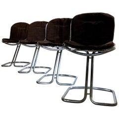 Gastone Rinaldi Space Age Chrome & Velvet Dining Room Chairs, 1970s, Set of 8