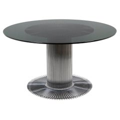 Gastone Rinaldi, Table in Chromed Metal and Smoked Glass, 1970s