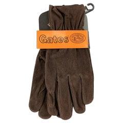 GATES Deadstock Size S Dark Brown Deer Skin Suede Gloves