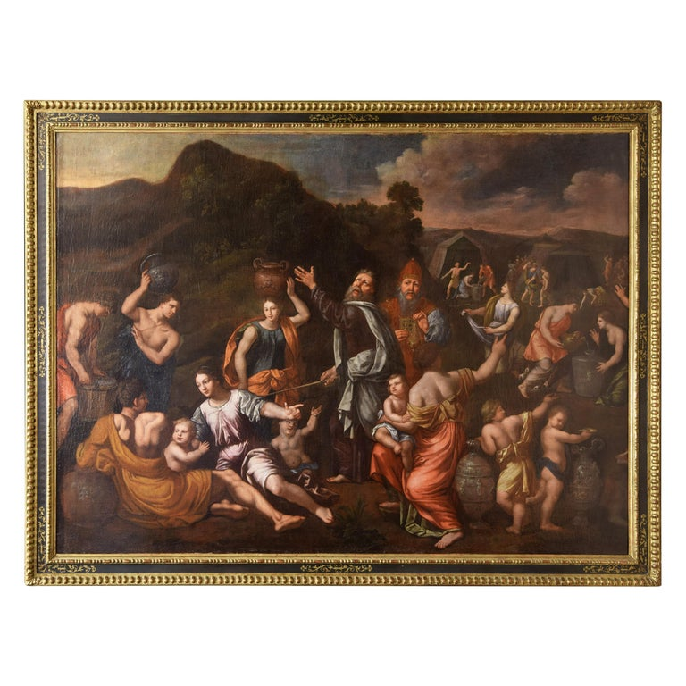 Gathering of Manna, Oil on Canvas, 17th Century For Sale