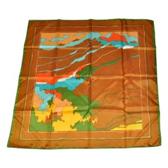 """""""Gathering Of Nature"""" Green Border Scarf"""