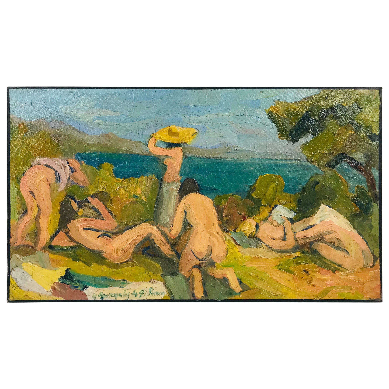 """Gathering on Beach"" Modern 1949 Oil on Canvas by George Dergalis"
