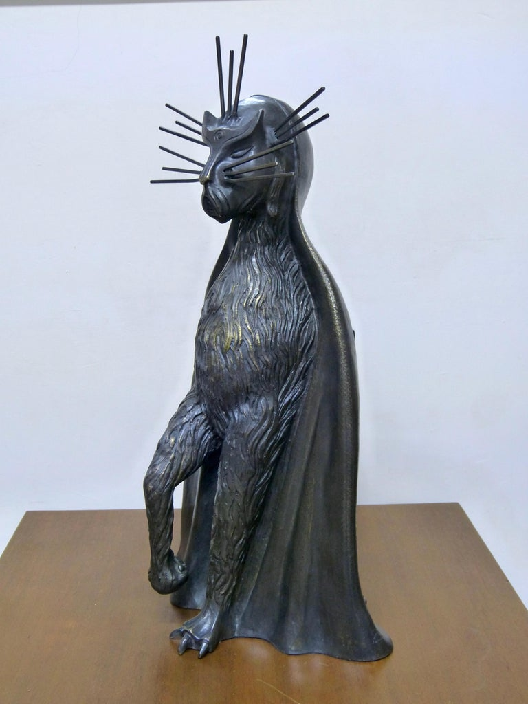 Gato De La Noche 'Night Cat' Surrealism Bronze Sculpture By Leonora Carrington For Sale 1