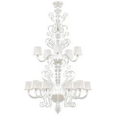 Artistic Chandelier 10+5 arms transparent Murano Glass Gatsby by Multiforme