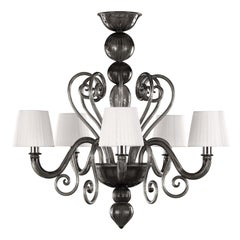Artistic Chandelier 5 arms Dark Grey Murano Glass with Lampshades by Multiforme