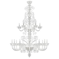 Chandelier 12+6 arms Clear Artistic Murano Glass Gatsby Naked by Multiforme