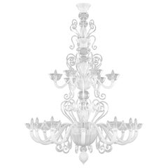 Chandelier 12+6 arms White and Clear Murano Glass Gatsby Naked by Multiforme