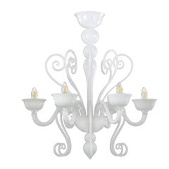 Chandelier 6 arms White Murano Glass White Cups Gatsby Naked by Multiforme
