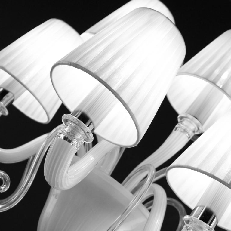 Sconce 5-arms White Encased Murano Glass White Lampshades Gatsby by Multiforme In New Condition For Sale In Trebaseleghe, IT