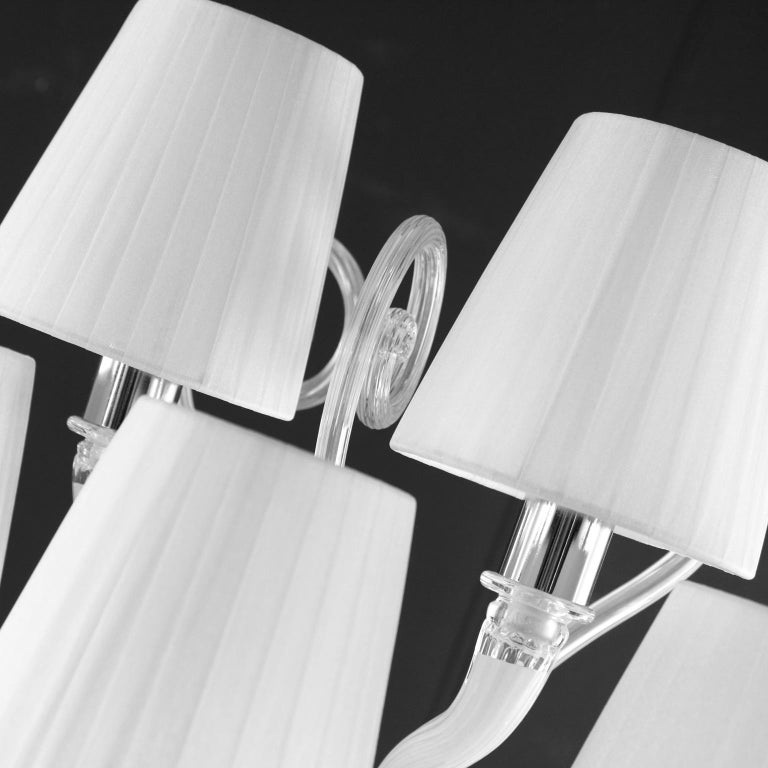 Contemporary Sconce 5-arms White Encased Murano Glass White Lampshades Gatsby by Multiforme For Sale