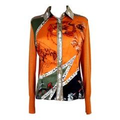 Gattinoni Orange Silk Wool Baroque Shirt 1990s
