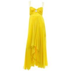Gattinoni Yellow Silk Chiffon High Low Evening Dress w Cutout