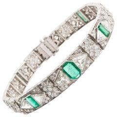 Gattle Art Deco Colombian Emerald Diamond Bracelet