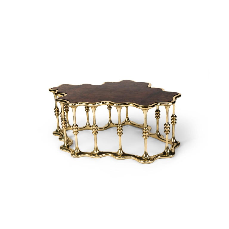 Modern 21st Century Gaudi Center Table, Polished Brass and Walnut Root Veneer Tabletop For Sale