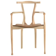 Gaulino chair in natural ash and natural hide.