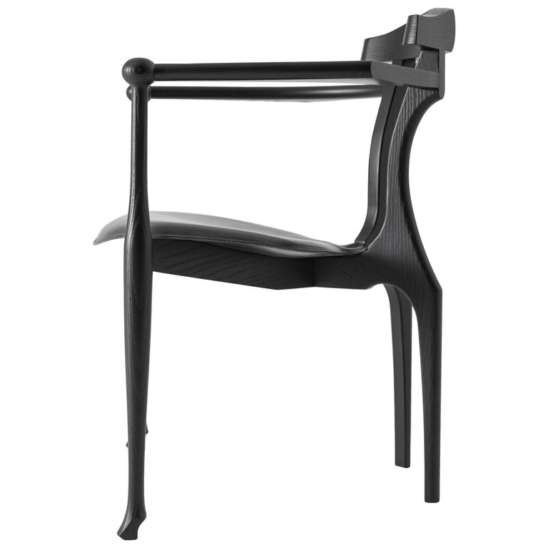 Gaulino Easy Chair, Black Lacquered For Sale