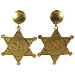 Gaultier Sheriff Badge Earrings