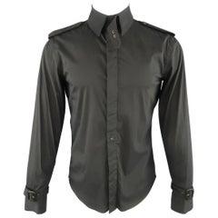 GAULTIER2 JEAN PAUL GAULTIER Size M Black Epaulet Trech Coat Style Shirt
