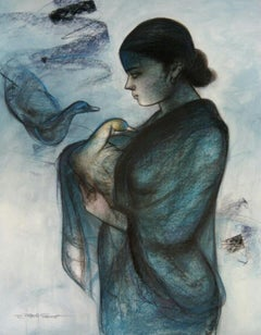 """Women with Swan, Mixed Media Painting, Blue, Black by Indian Artist """"In Stock"""""""