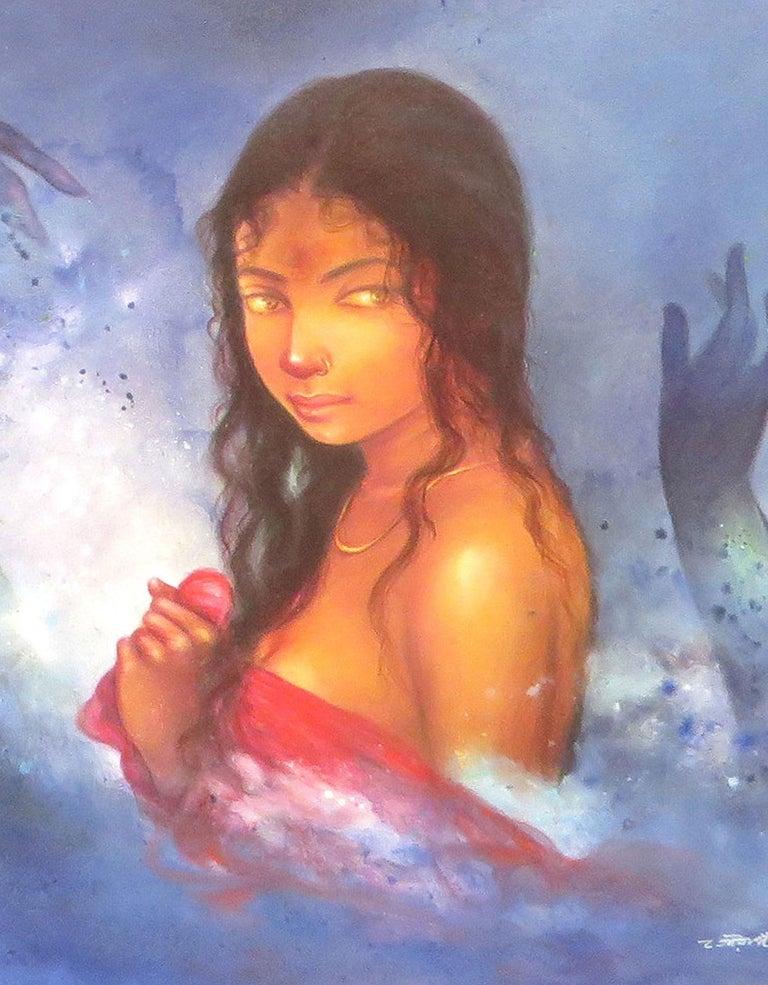 Devi, Bathing Bengali Woman, Acrylic, Mixed Media by Indian Artist