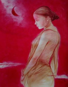 """Durga 2, Mixed Media on Paper, Red Colours by Contemporary Artist""""In Stock"""""""