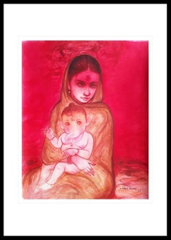 """Ganesh Janani, Mixed Media on paper, Red, Pink, Brown by Bengal Artist""""In Stock"""""""