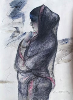 """Indian Bengali Women , Charcoal, Pastel on Paper, Blue, Black, Red """"In Stock"""""""
