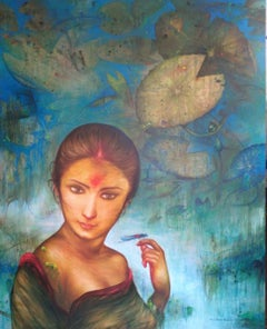 """Lotus Pond, Acrylic on Canvas, Green, Blue by Contemporary Artist""""In Stock"""""""